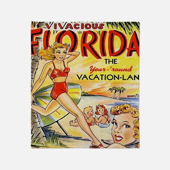 Vintage Florida Vacation Land Throw Blanket