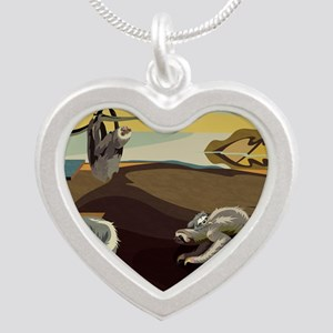 Persistence of Sloths Silver Heart Necklace