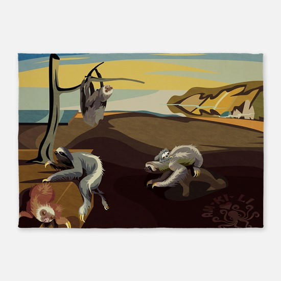 Persistence of Sloths 5'x7'Area Rug