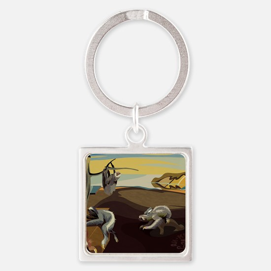 Persistence of Sloths Square Keychain