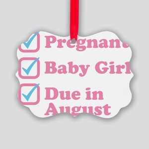 Due in August Picture Ornament