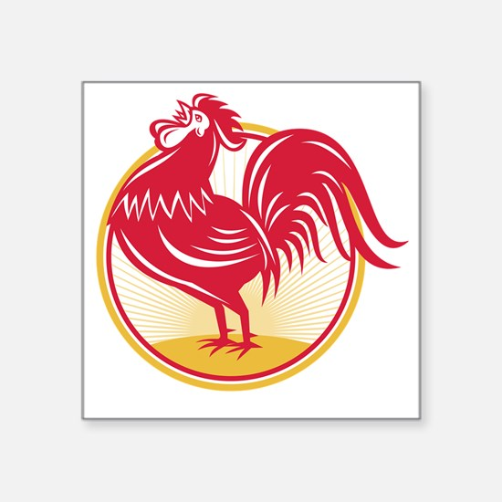 """Rooster Cockerel Crowing Re Square Sticker 3"""" x 3"""""""