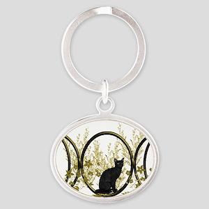 Triple Moon Art Series Cat Oval Keychain