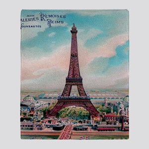 Vintage Colorful Eiffel Tower Postca Throw Blanket