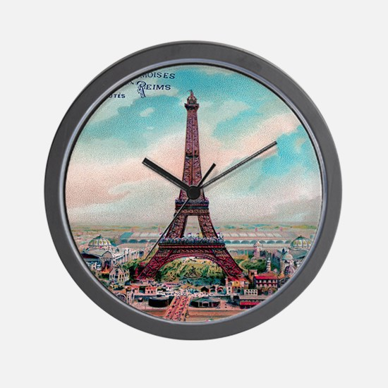 Vintage Colorful Eiffel Tower Postcard Wall Clock