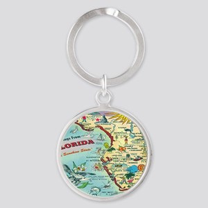 Vintage Florida Greetings Map Round Keychain