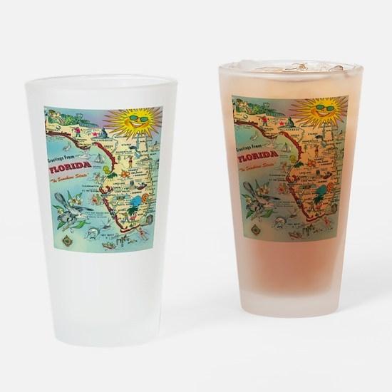 Vintage Florida Greetings Map Drinking Glass