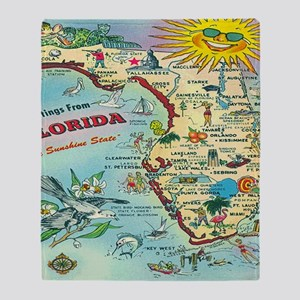 Vintage Florida Greetings Map Throw Blanket