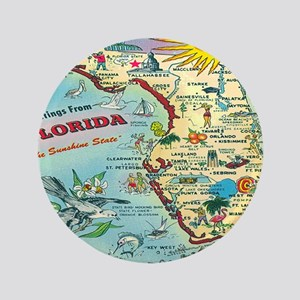 "Vintage Florida Greetings Map 3.5"" Button"