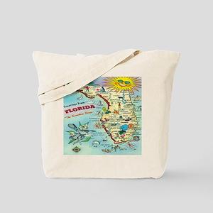 Vintage Florida Greetings Map Tote Bag