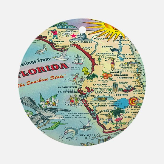 Vintage Florida Greetings Map Round Ornament