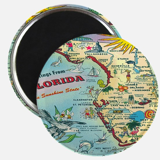 Vintage Florida Greetings Map Magnet