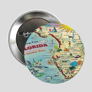 "Vintage Florida Greetings Map 2.25"" Button"