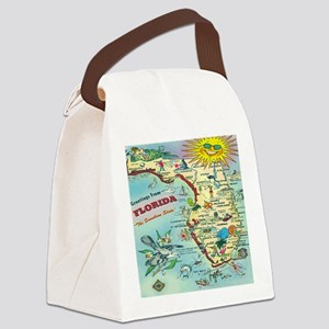 Vintage Florida Greetings Map Canvas Lunch Bag