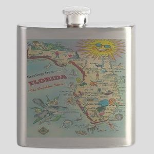 Vintage Florida Greetings Map Flask