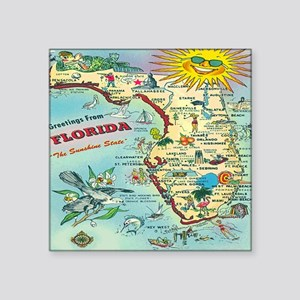 "Vintage Florida Greetings M Square Sticker 3"" x 3"""