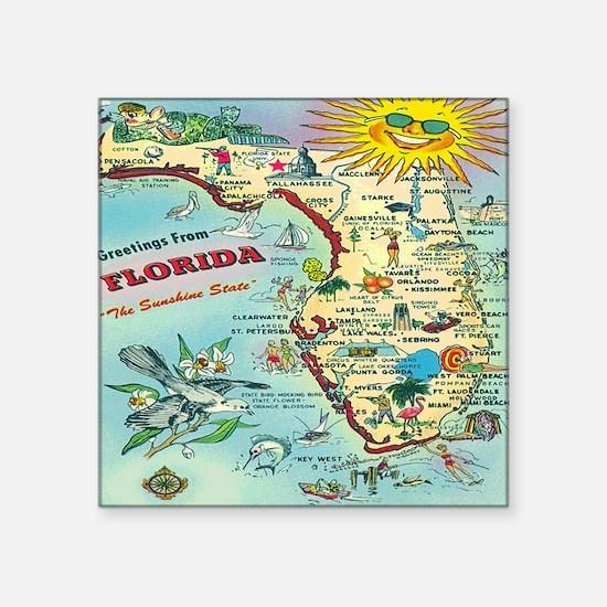 "Vintage Florida Greetings M Square Sticker 3"" x 3"""