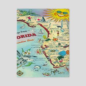 Vintage Florida Greetings Map Twin Duvet