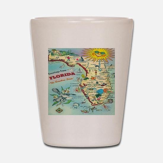 Vintage Florida Greetings Map Shot Glass