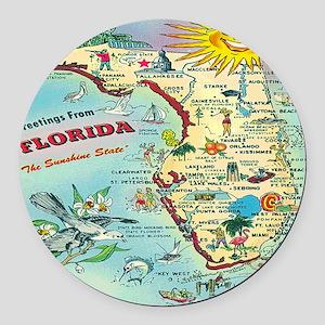 Vintage Florida Greetings Map Round Car Magnet