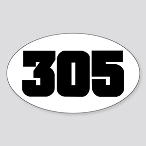 305 Black Slab Style Oval Sticker