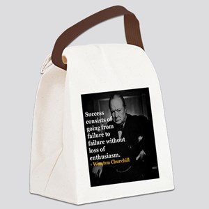 Winston Churchill on Sucess over  Canvas Lunch Bag
