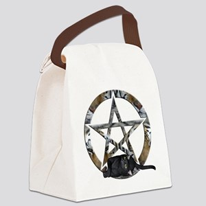 Wiccan Pentacle With Black Cat Canvas Lunch Bag