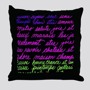 French-Words Throw Pillow