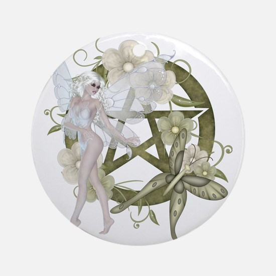 Wiccan Pentacle Beautiful Fairy Round Ornament