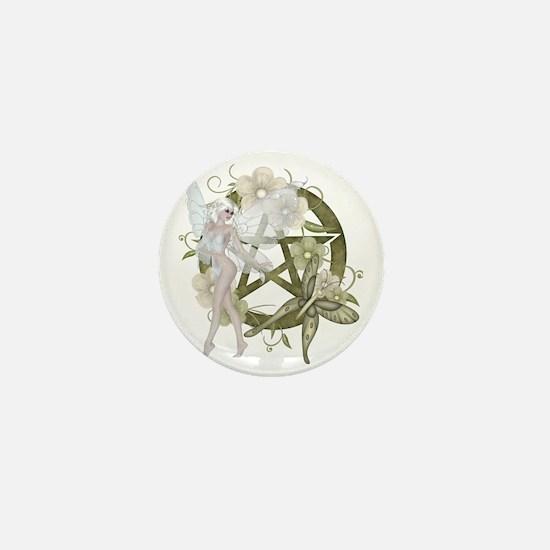Wiccan Pentacle Beautiful Fairy Mini Button