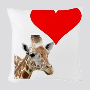 i love giraffe Woven Throw Pillow