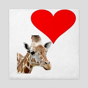 i love giraffe Queen Duvet