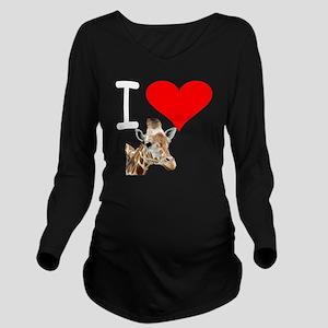 i love giraffe Long Sleeve Maternity T-Shirt