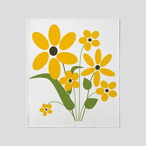 Summer Yellow Flowers Throw Blanket