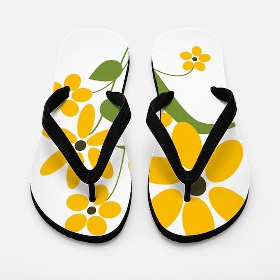 Summer Yellow Flowers Flip Flops