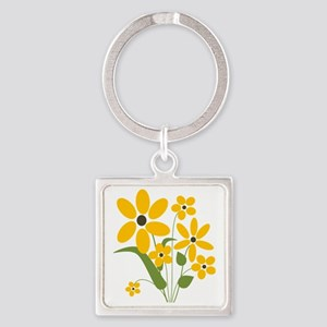 Summer Yellow Flowers Square Keychain