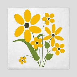 Summer Yellow Flowers Queen Duvet