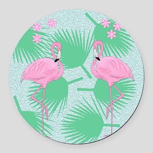 flamingos Round Car Magnet