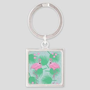 flamingos Square Keychain
