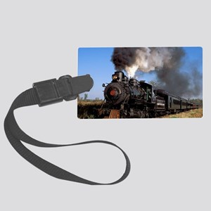 Antique steam engine train Large Luggage Tag