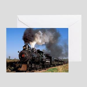 Antique steam engine train Greeting Card