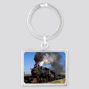 Antique steam engine train Landscape Keychain