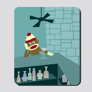 Sock Monkey Martini Bar Mousepad