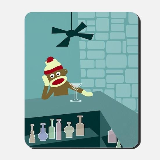 Sock Monkey Martini Bar Mousepad