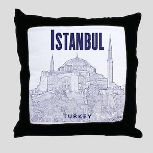 Istanbul_10x10_HagiaSophia_v1_Blue Throw Pillow