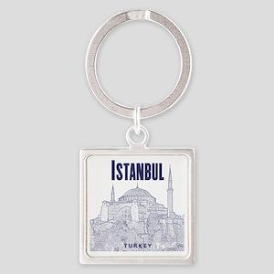 Istanbul_10x10_HagiaSophia_v1_Blue Square Keychain