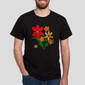 Red Orange and Yellow Summer Flowers Dark T-Shirt