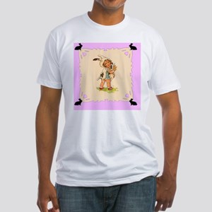 Cute Vintage Bunny Girl Fitted T-Shirt
