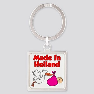Made In Holland Girl Square Keychain
