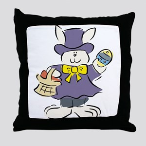 Formal Easter Bunny with Basket Throw Pillow
